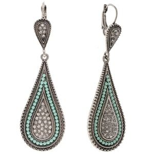 Jewelry - 🆕 Antique Style Silver & Mint Rhinestone Earrings